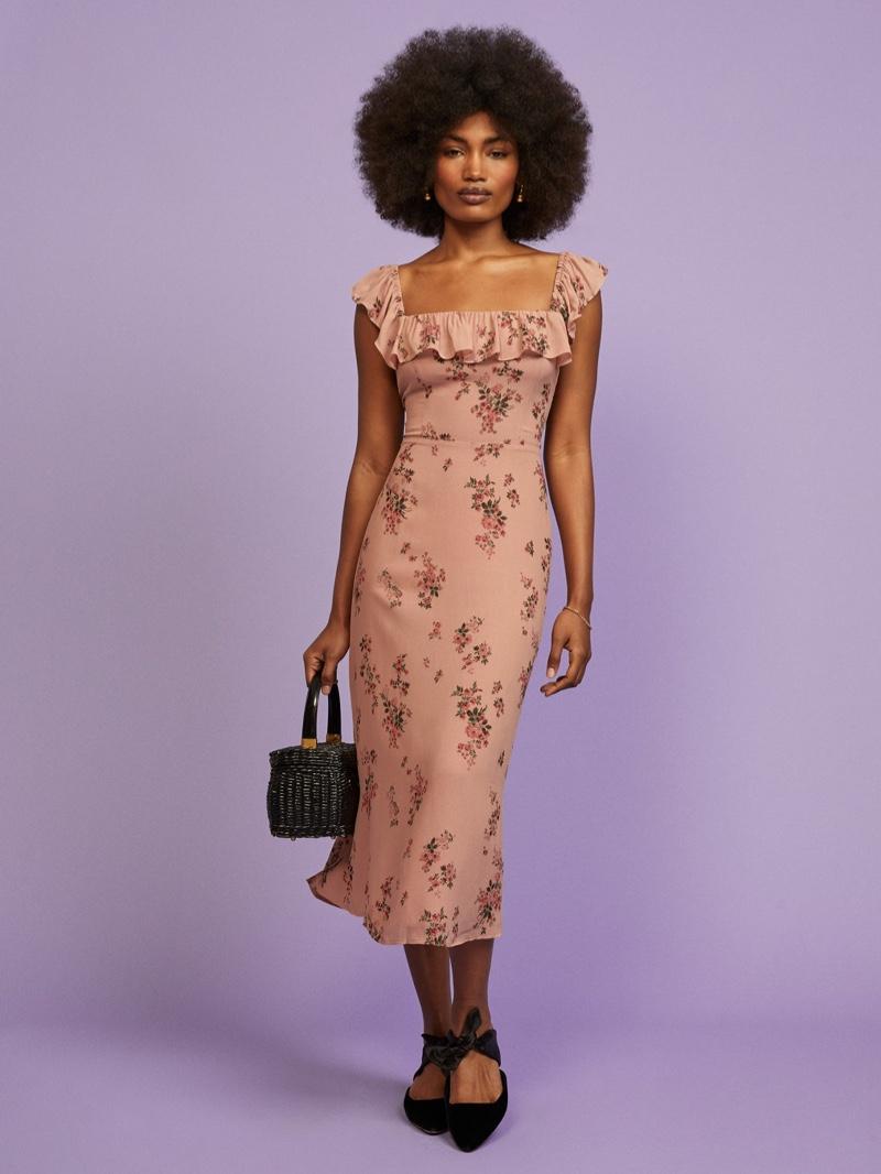 Reformation Colette Dress in Lorena $218