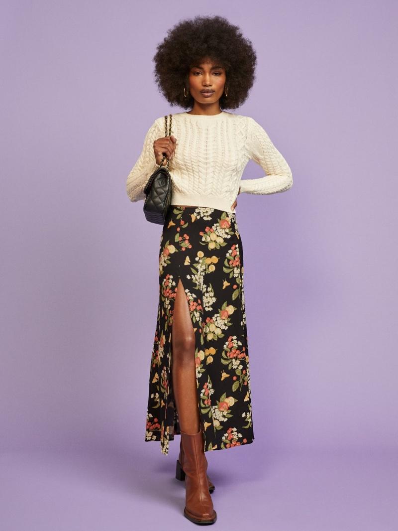 Reformation Zoe Skirt in Summer Soiree $148