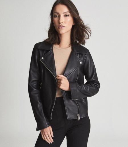 Reiss Geo Leather Biker Jacket $650