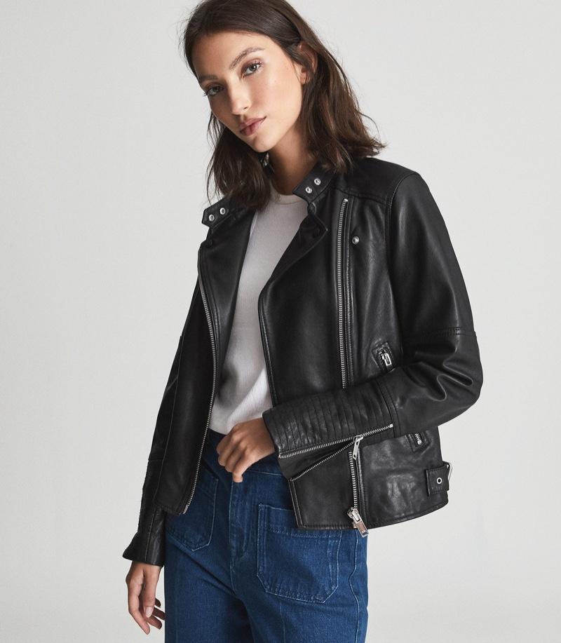 Reiss Tallis Leather Biker Jacket $650
