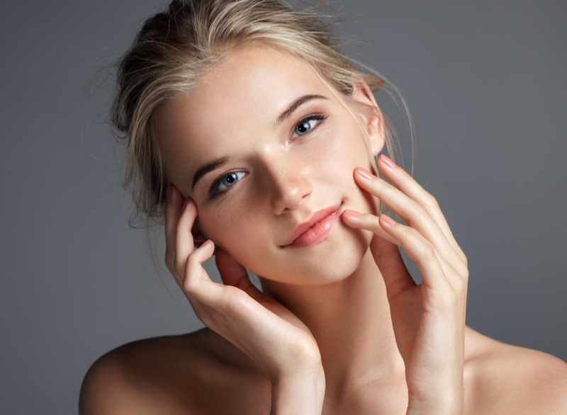 Smiling Girl Clear Skin Beauty Blonde