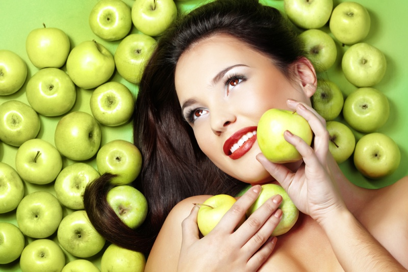 Smiling Model Beauty Makeup Green Apples Health Concept