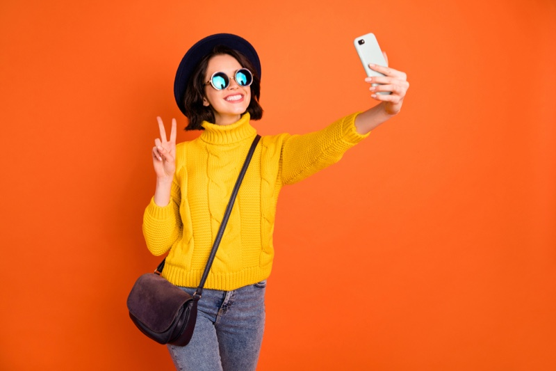 Smiling Woman Phone Selfie Yellow Sweater Fashion Influencer