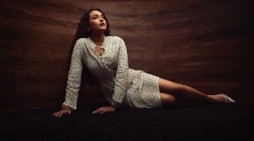 Actress Sonakshi Sinha wears Marks and Spencer dress with Misho necklaces.