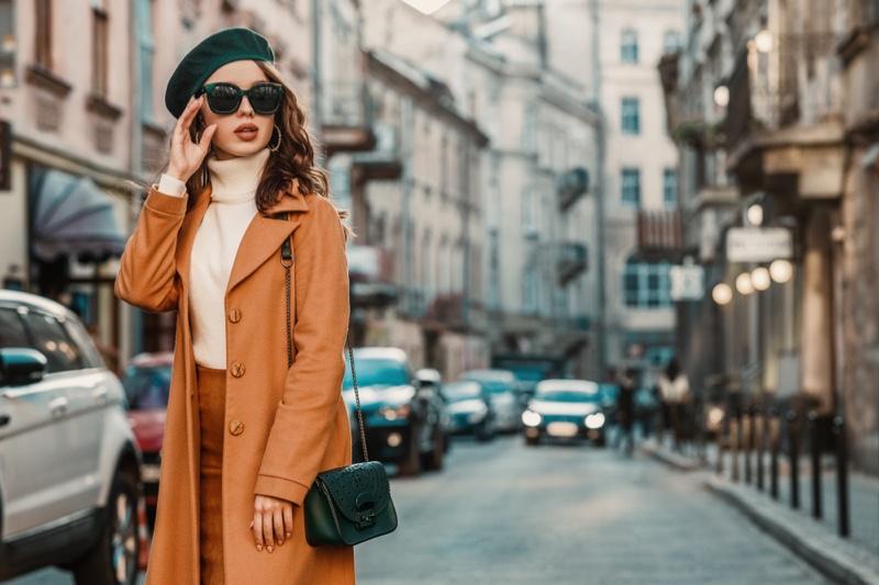 Stylish Model Fall Outfit Street Coat Sweater Beret Bag