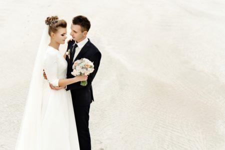 Traditional Bride Groom Beach Veil Wedding Flower Bouquet