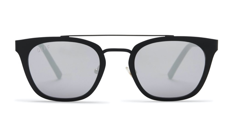 Uncommon James x DIFF Sunglasses in Black with Grey Mirror Lenses $85