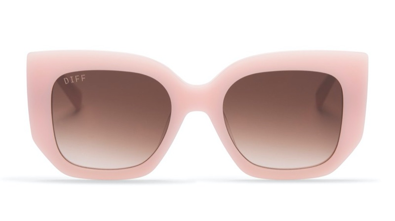 Uncommon James x DIFF Sunglasses in Cream Pink with Brown Gradient Lenses $85