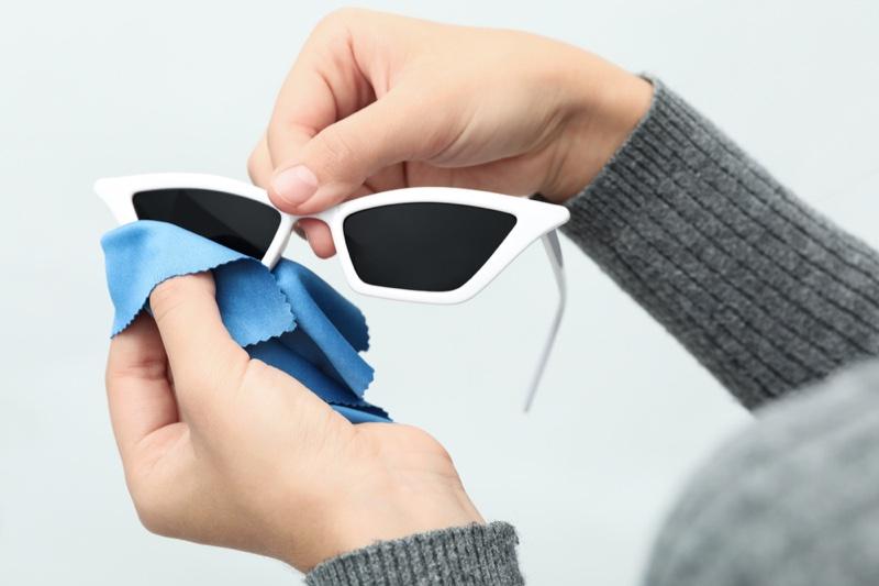 Woman Cleaning White Sunglasses Cat Eye Blue Microfiber