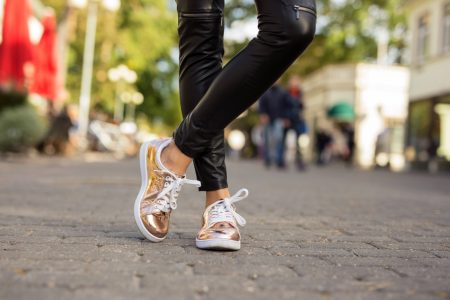 Woman Rose Gold Sneakers Leather Pants
