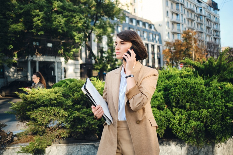 Woman Tan Suit Phone Papers