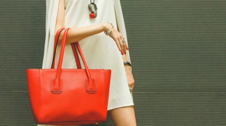 Woman White Dress Red Orange Bag Necklace Stylish