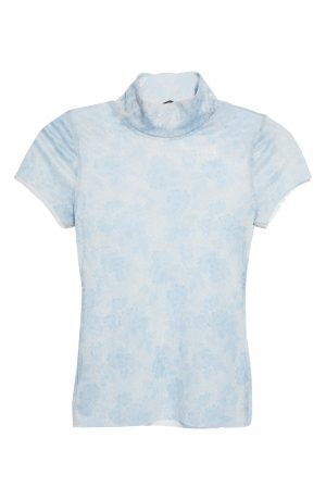 Women's Free People Print Mesh Baby T-Shirt, Size X-Small - Blue