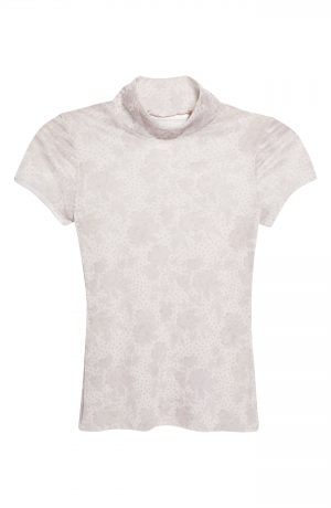 Women's Free People Print Mesh Baby T-Shirt, Size X-Small - Ivory