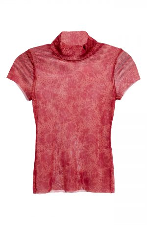 Women's Free People Print Mesh Baby T-Shirt, Size X-Small - Red
