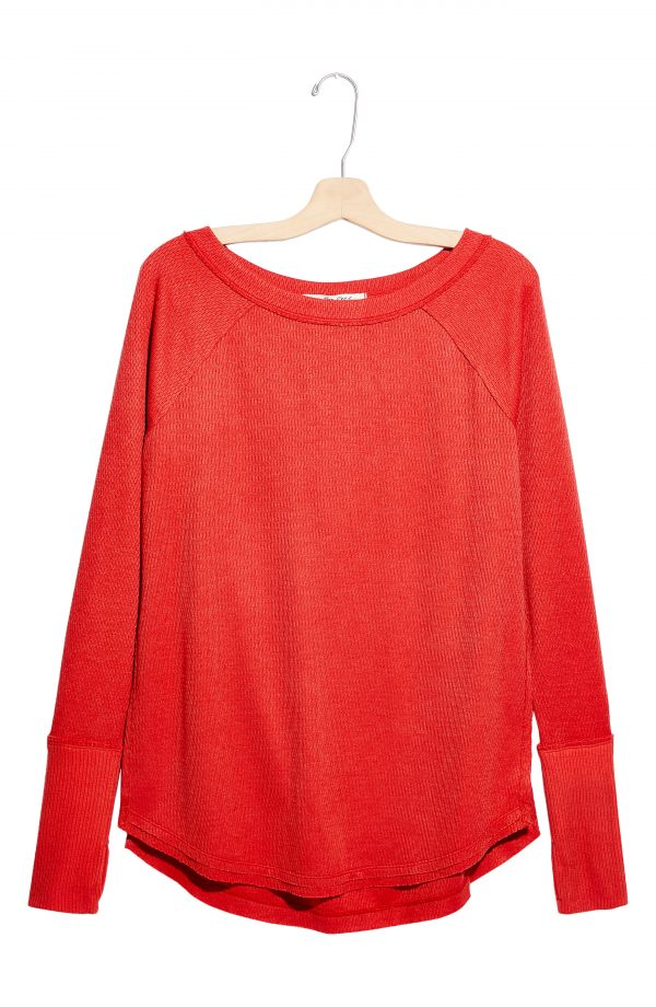 Women's Free People Snowy Thermal Shirt, Size X-Small - Orange