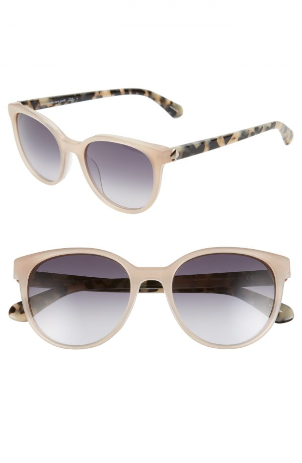 Women's Kate Spade New York Melanie 52mm Round Sunglasses - Nude/ Dkgrey Gradient