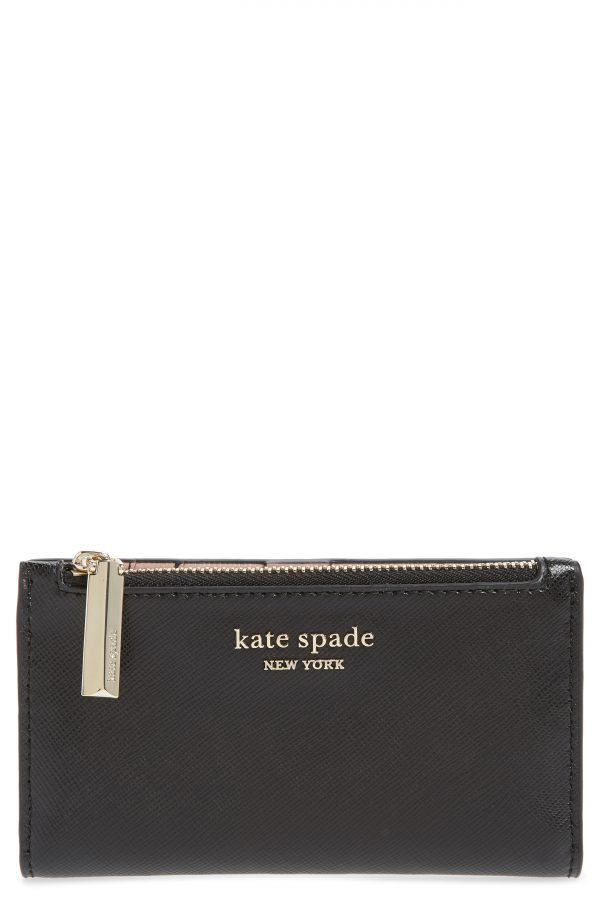 Women's Kate Spade New York Small Spencer Saffiano Leather Bifold Wallet - Black