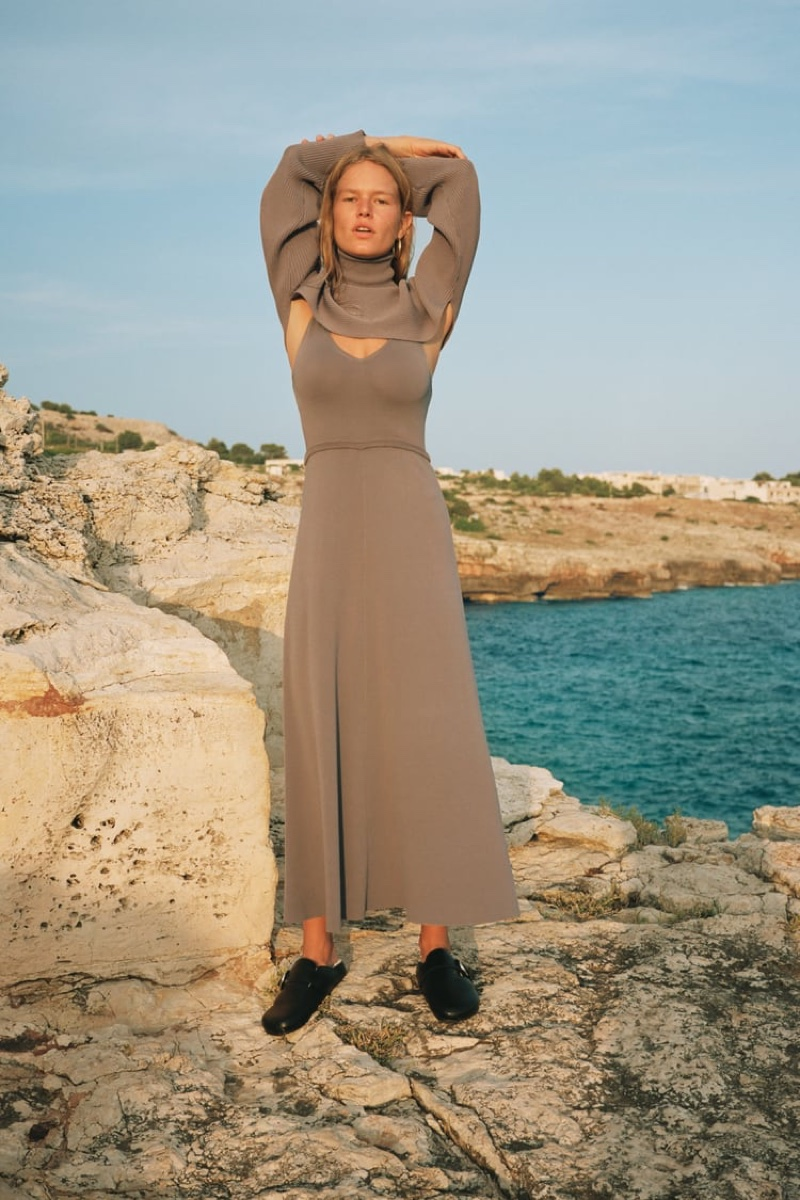 Model Anna Ewers poses in neutral designs from Zara.