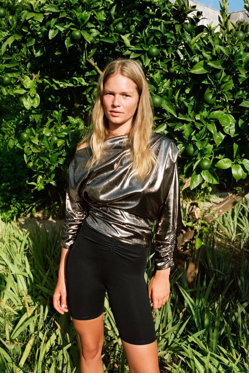 Zara Metallic Asymmetric Top and Biker Shorts.