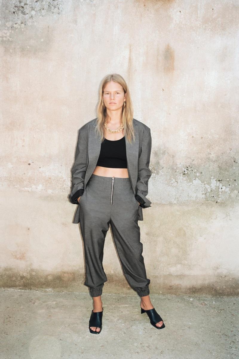 Suiting up, Anna Ewers models Zara designs.