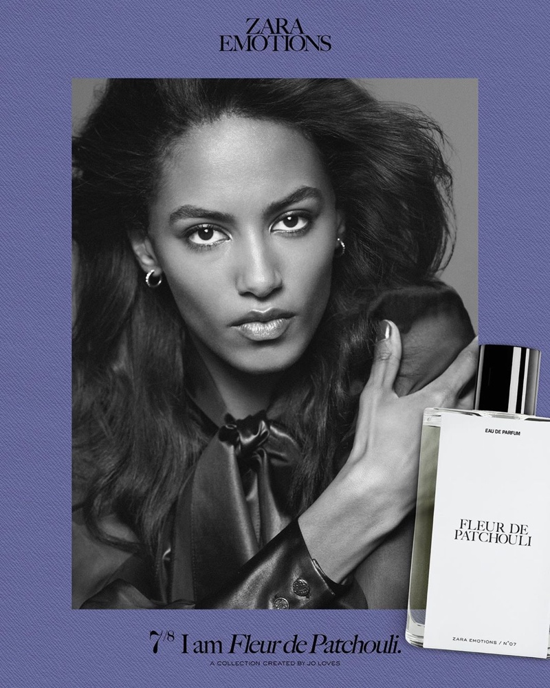 Sacha Quenby poses for Zara Emotions fragrance campaign.