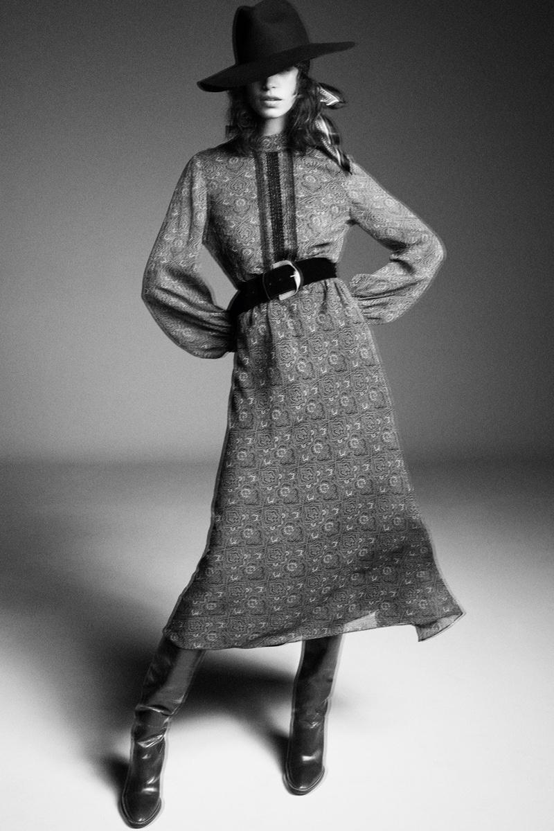 Zara Print Dress, Printed Bandana Hat, and High Shaft Heeled Boots.