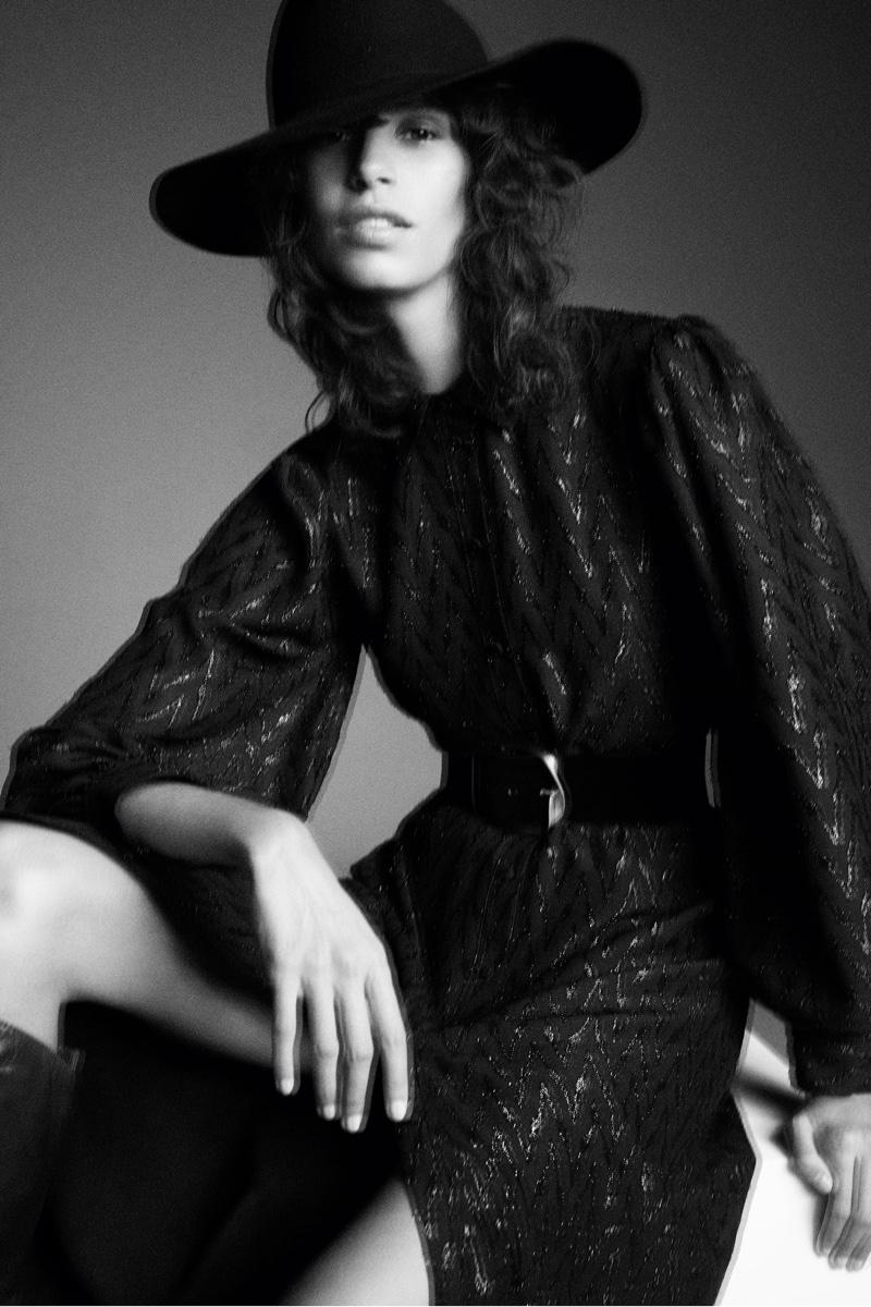 Mica Arganaraz wears Zara dress with metallic thread.