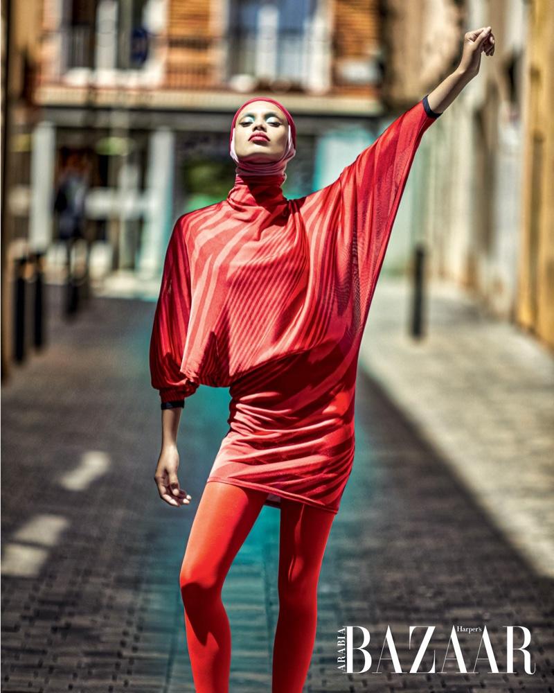 Afrodita Dorado Poses in Vibrant Styles for Harper's Bazaar Arabia