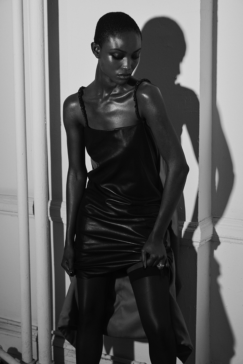 Alicia Burke Models Sultry Leather Outfits for DuJour