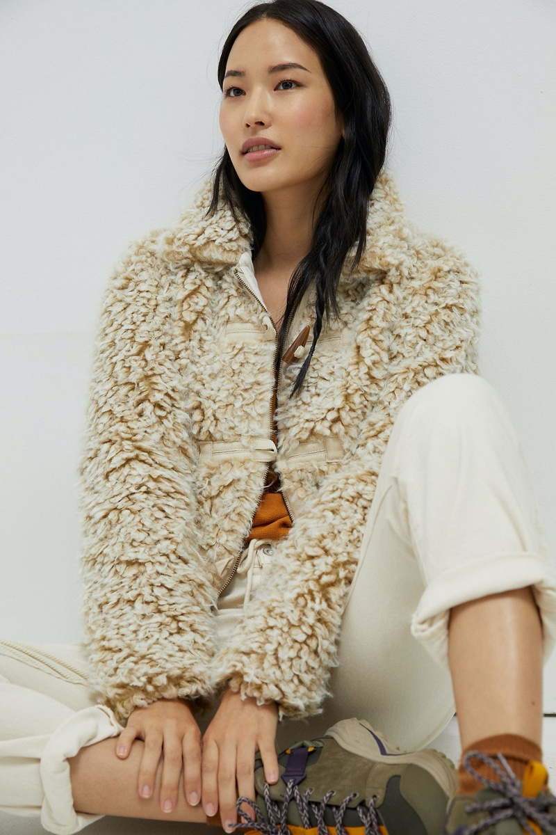 Anthropologie Brenna Faux Fur Coat in Taupe $168