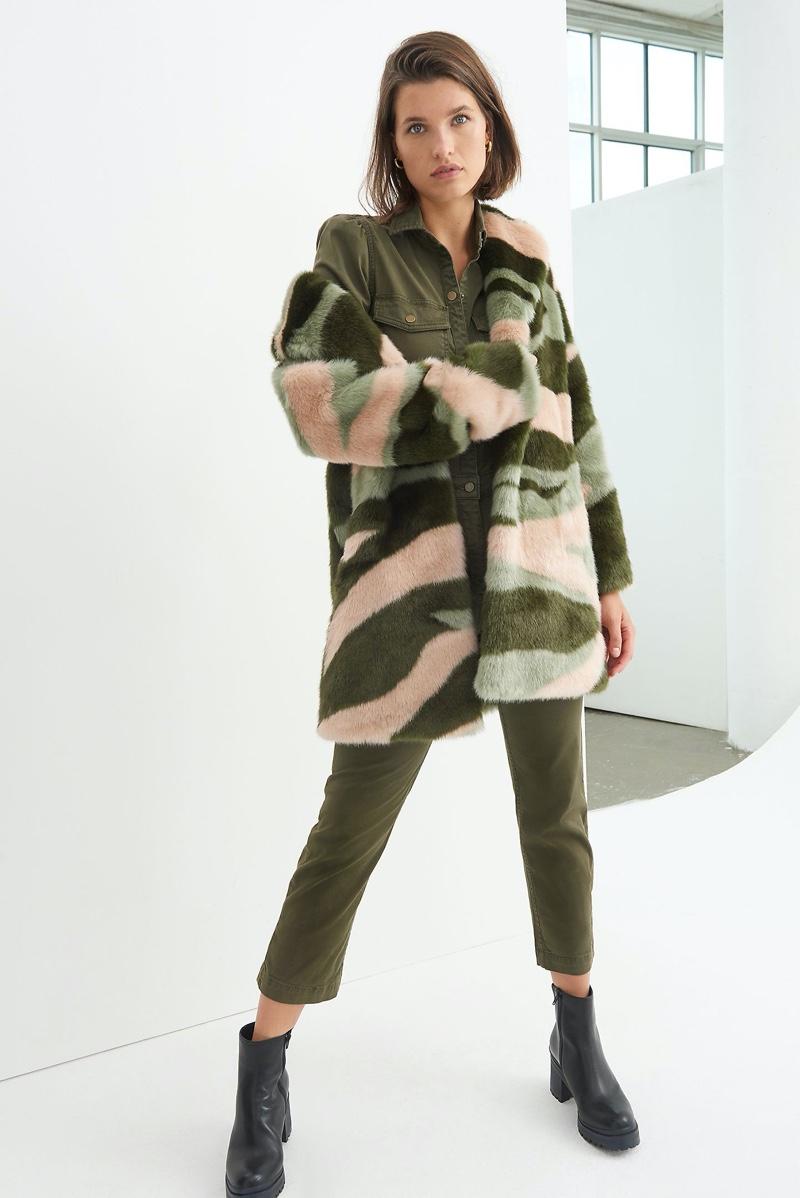 Anthropologie Marbled Faux Fur Coat $268