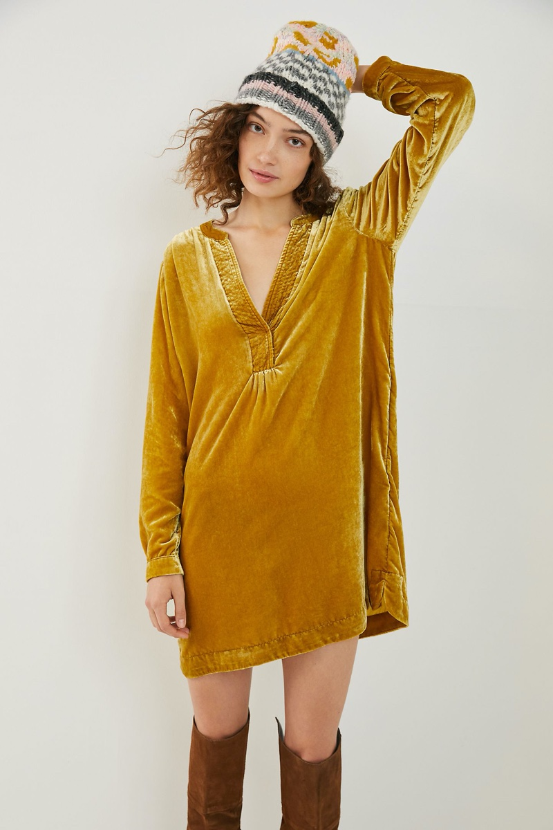 Anthropologie Melody Velvet Tunic Dress in Chartreuse $148