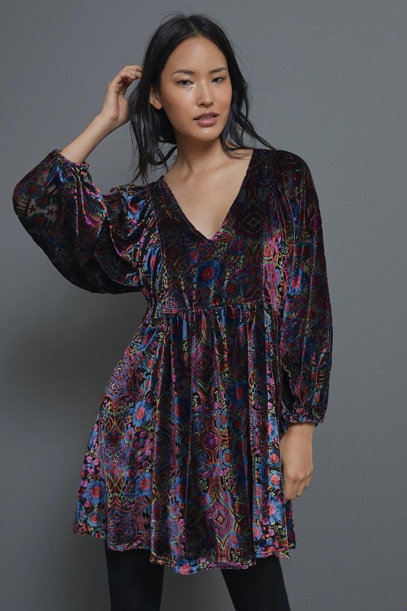 Anthropologie Mona Burnout Velvet Mini Dress $168