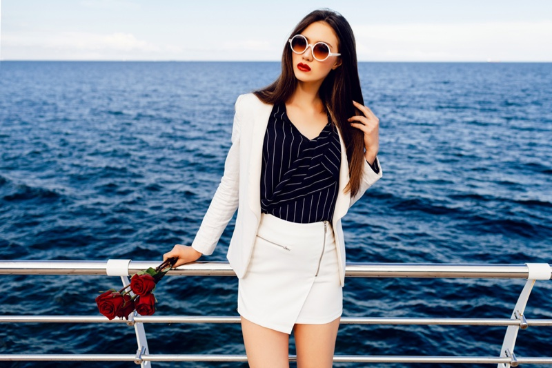 Asian Woman Jacket Skirt Stripe Top Flowers Chic Outfit