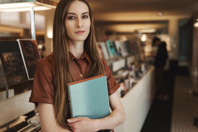 Attractive Brunette Books Store