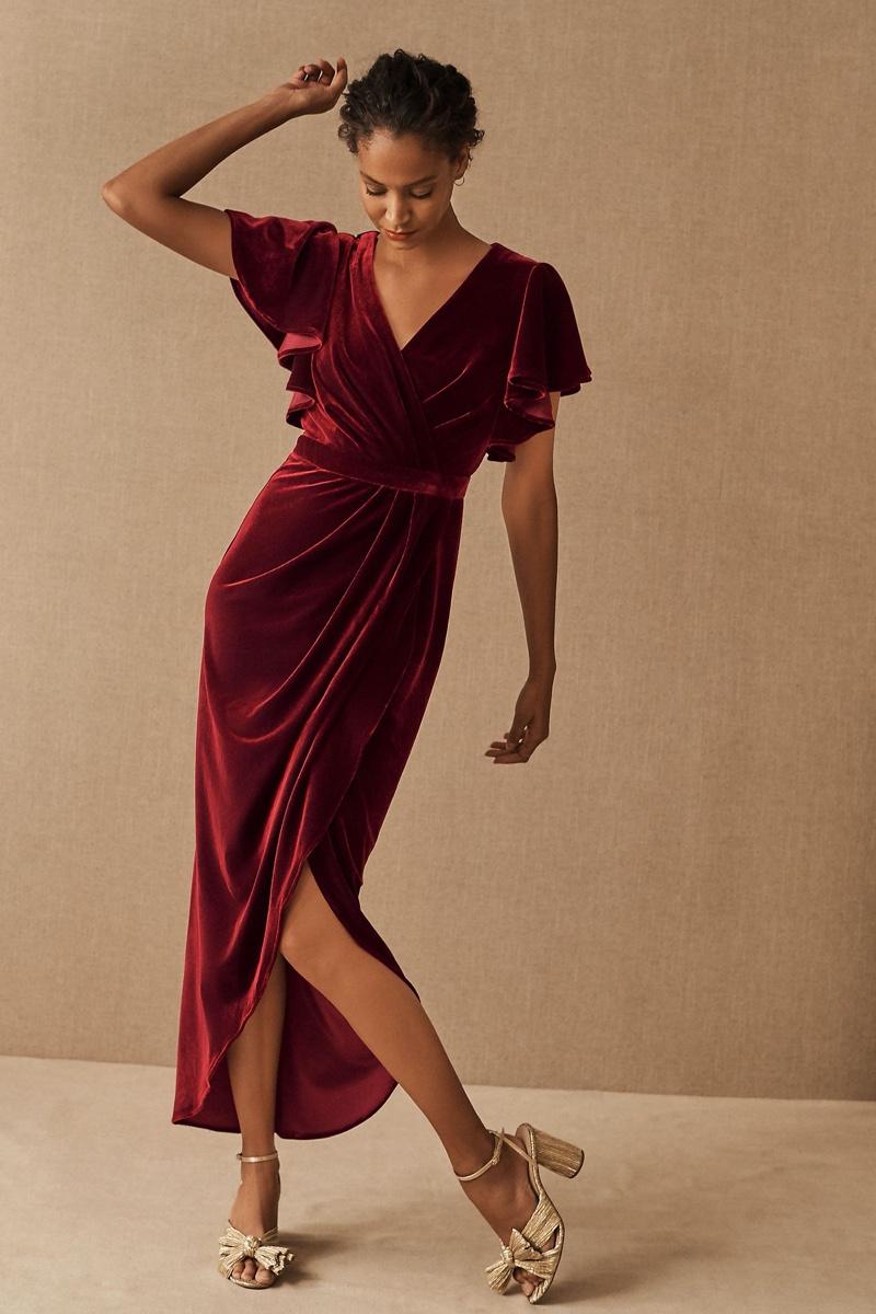 BHLDN Dover Velvet Dress $220