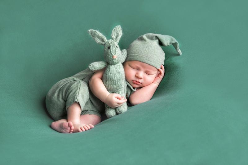 Baby Sleeping Green Suit Rabbit Beanie