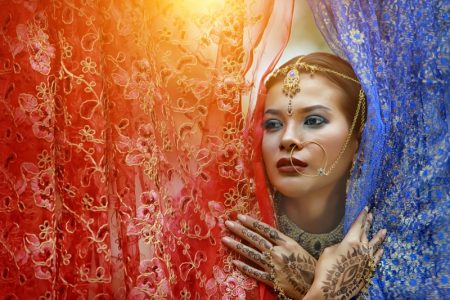 Beauty Indian Model Jewelry Nose Ring Fabrics