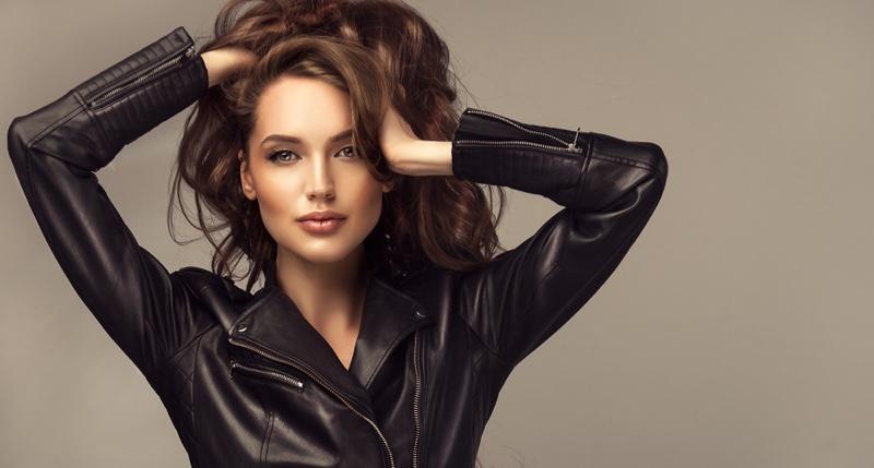 Beauty Model Leather Jacket Teased Hair