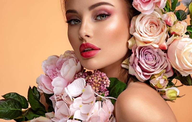 Beauty Model Makeup Flowers Concept