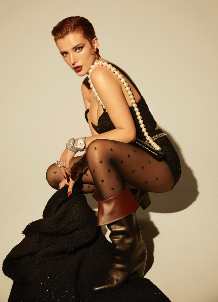 Photographed by Max Abadian, Bella Thorne poses in Chanel.