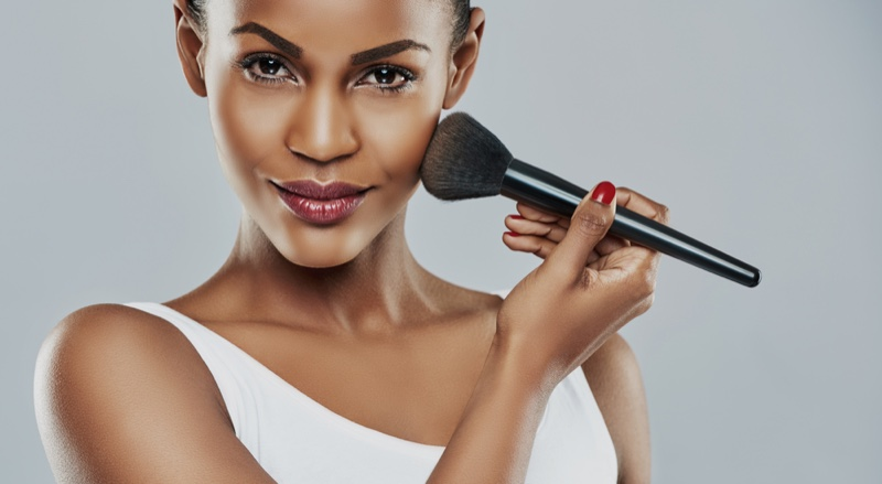 Black African Woman Makeup Brush Beauty