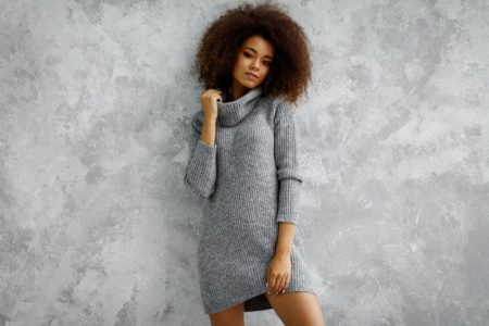 Black Model Curly Hair Grey Sweater Dress
