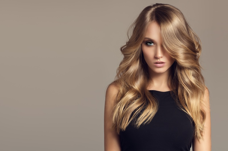 Blonde Model Wavy Hair Beauty Long