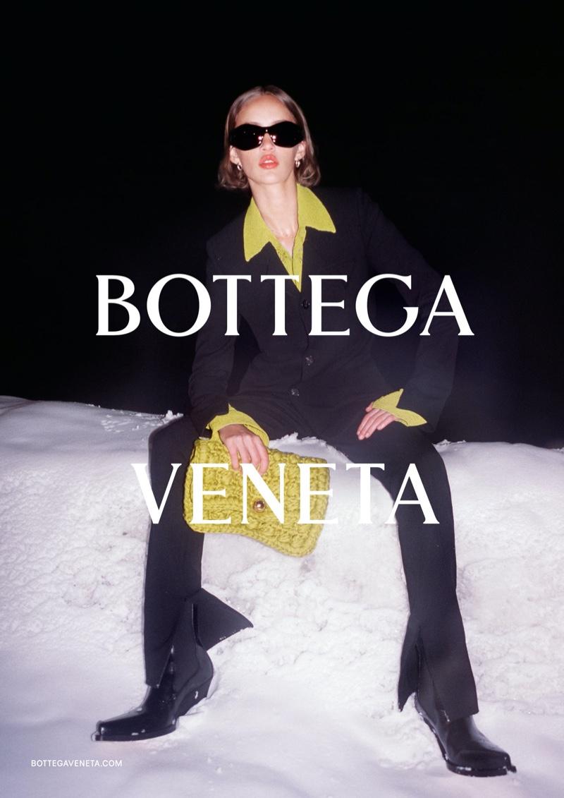 Quinn Mora poses for Bottega Veneta fall-winter 2020 campaign.