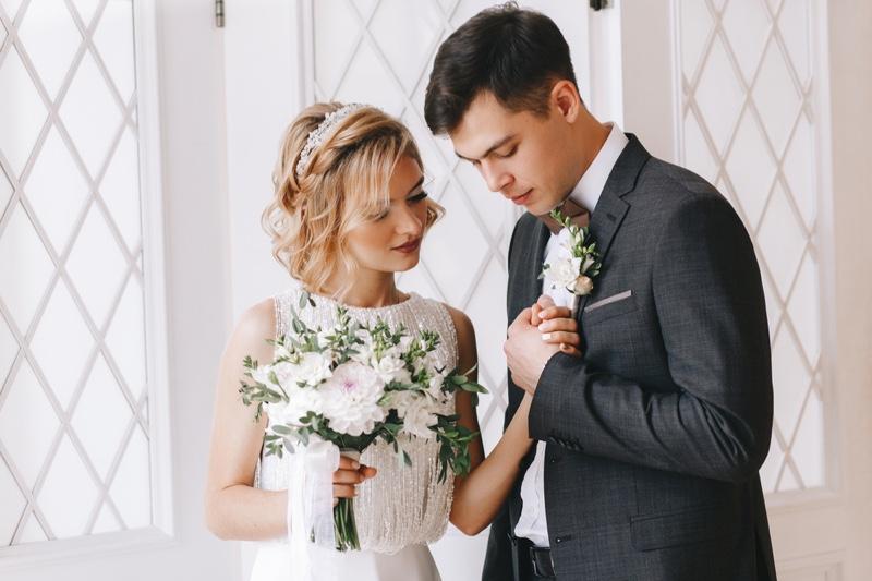 Bride Groom Flowers Holding Hands Attractive