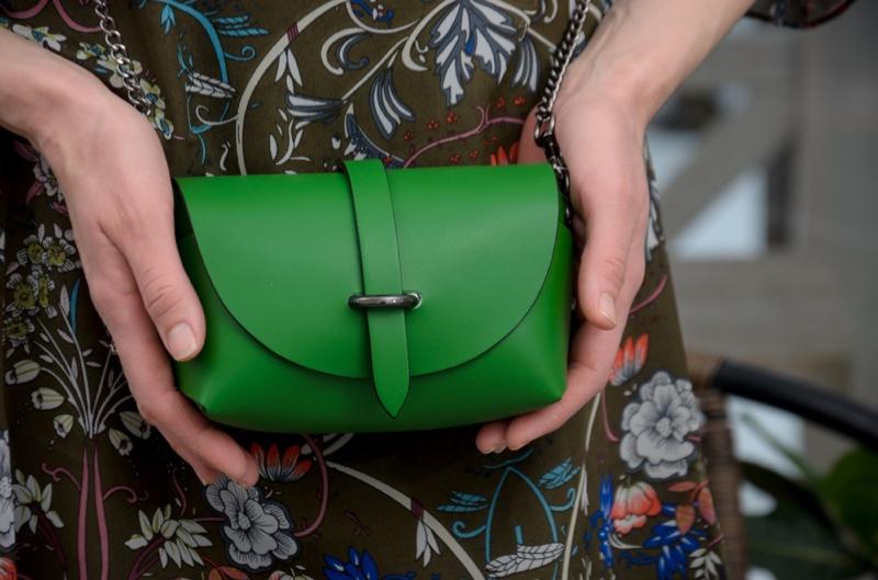 Closeup Green Leather Handbag