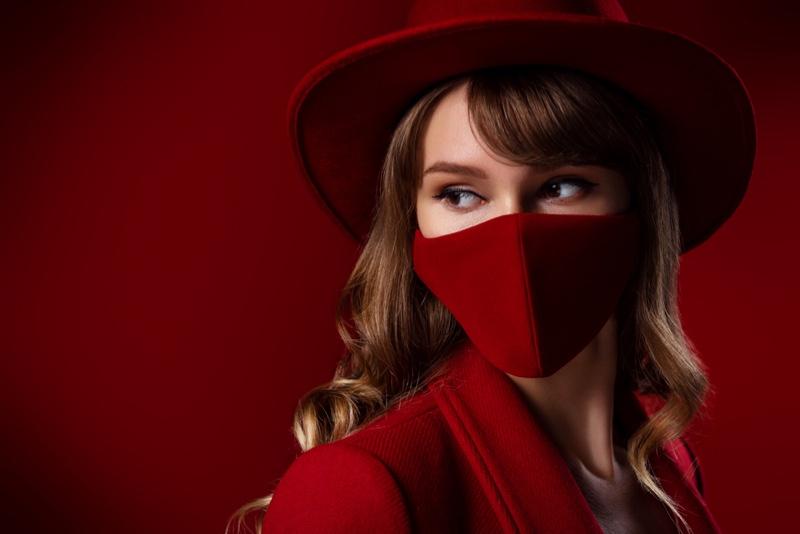Closeup Model Red Look Mask Hat Jacket