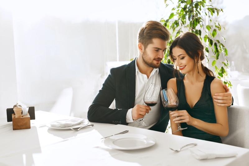 Couple Date Dinner Wine Attractive Well Dressed